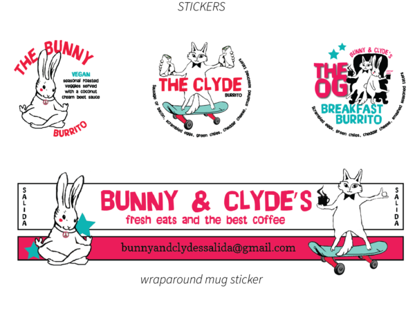 Bunny and Clyde's Corner Cafe Menu Stickers